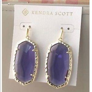 NWT Kendra Scott purple glass drop earrings